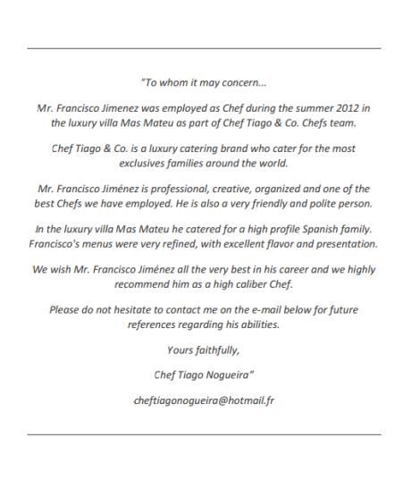 Carta de recomendación del Chef Tiago