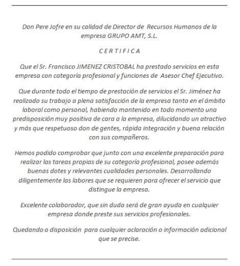 Carta recomendación chef operativo